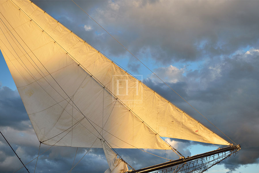 Fine art photography Golden Sails as interior art from Elizabeth Hesp Fine Art limited edition Sails Tall Ship series created by Canadian visual artist Elizabeth Hesp in Kingston Ontario.