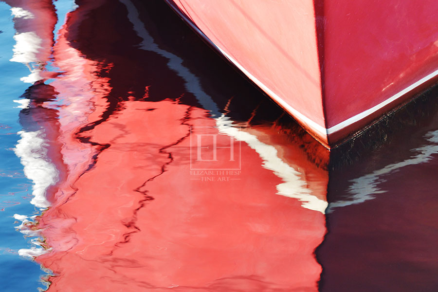 Fine art photography Painted Red Boat as interior art from Elizabeth Hesp Fine Art limited edition Reflections series created by Canadian visual artist Elizabeth Hesp in Kingston Ontario.