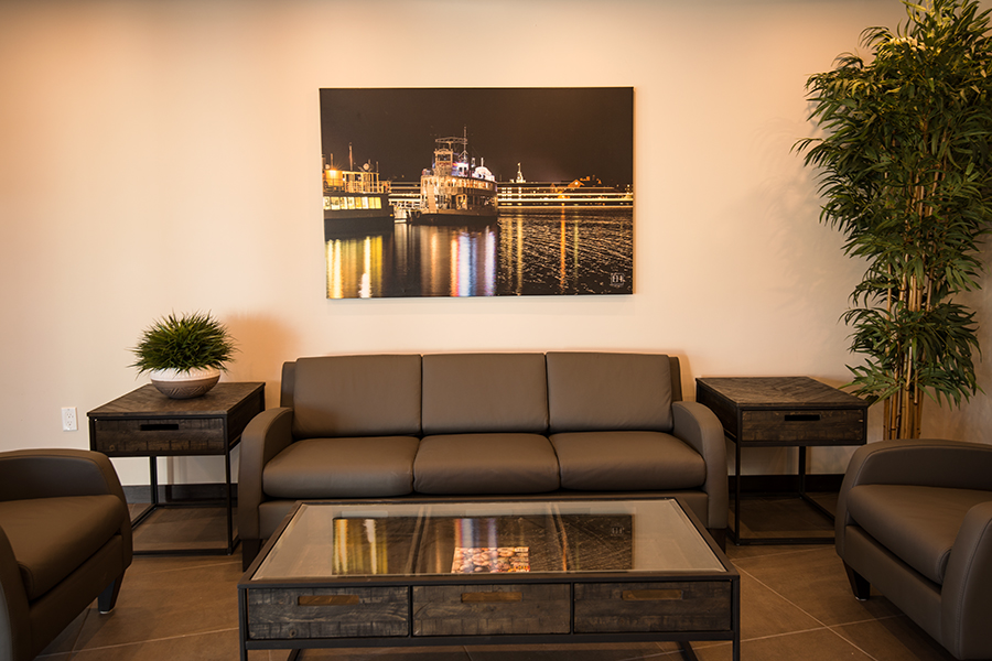 Kingston at Night fine art photography giclee canvas from Elizabeth Hesp Fine Art's limited edition First Capital of Canada series showcasing a condo lobby in Kingston Ontario Canada